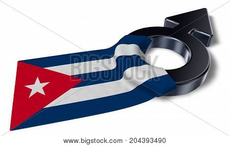 male symbol and flag of cuba - 3d rendering