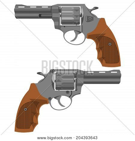 Two sides of the revolver. You can animate the movement of the trigger. The length of the barrel is four inches.