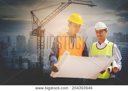 Engineer and Architect working at Construction Site two construction engineer working in construction site on white backgroung save pahts.