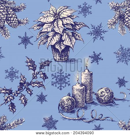 Seamless pattern made with Christmas and New Year holidays decorations. Hand drawn Christmas plants candles and snowflakes on blue background. Vector sketch.