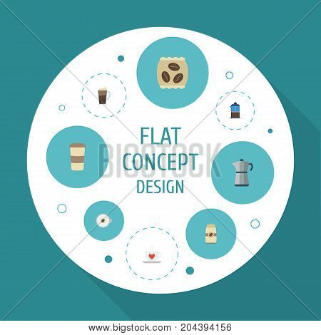 Flat Icons French Press, Package Latte, Latte And Other Vector Elements
