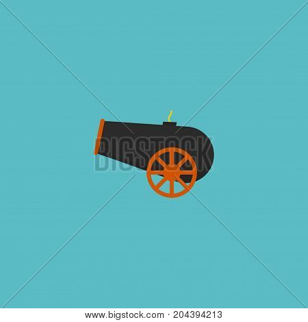 Flat Icon Cannon Element. Vector Illustration Of Flat Icon Artillery Isolated On Clean Background