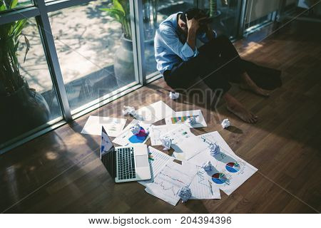 Business Asian Man Stress And Sad Business Failure Concept.