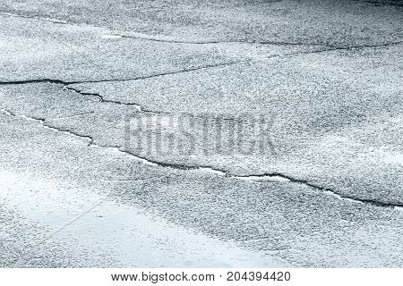 Wet Asphalt Road With Paddle After Heavy Rain