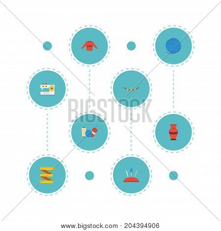 Flat Icons Sewing, Meter, Pottery And Other Vector Elements