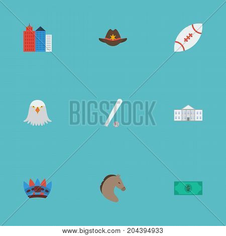 Flat Icons Football, Greenback, Horse And Other Vector Elements