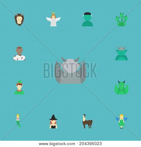 Flat Icons Halo, Dinosaur, Evil And Other Vector Elements poster