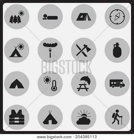 Set Of 16 Editable Camping Icons. Includes Symbols Such As Tepee, Bedroll, Shelter And More