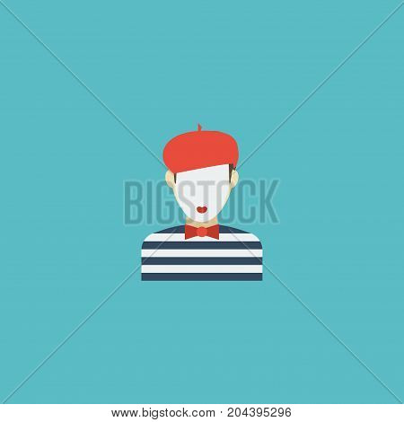 Flat Icon Mime Element. Vector Illustration Of Flat Icon Pantomime Isolated On Clean Background
