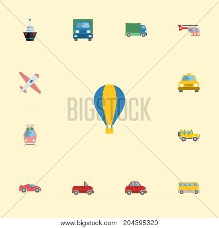 Flat Icons Jeep, Airship, Aircraft And Other Vector Elements