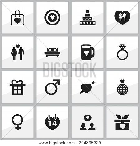 Set Of 16 Editable Amour Icons. Includes Symbols Such As Cap, Passion, Pastry And More