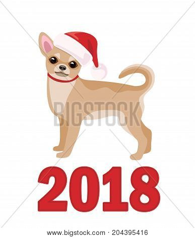 Small Dog Chihuahua in Santa Claus hat isolated on white background. Chinese calendar symbol of 2018 year. Vector flat illustration.
