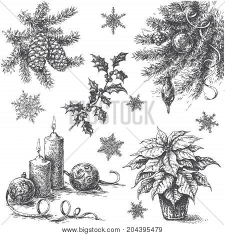 Monochrome Set of Christmas and New Year holidays decorations. Hand drawn Christmas plants candles and snowflakes isolated on white background. Vector sketch.