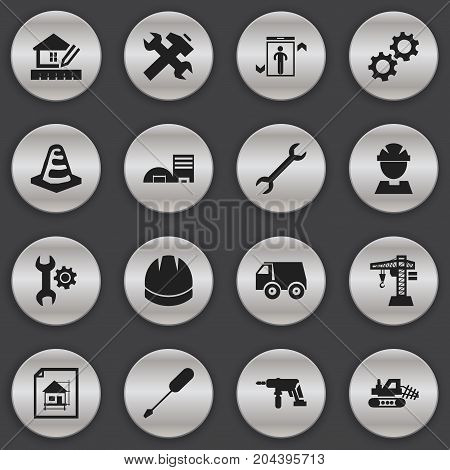Set Of 16 Editable Construction Icons. Includes Symbols Such As Electric Screwdriver, Cogwheel, Estate And More