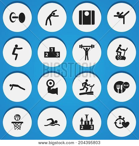 Set Of 16 Editable Healthy Icons. Includes Symbols Such As Racetrack Training, Training Bicycle, Exercise And More