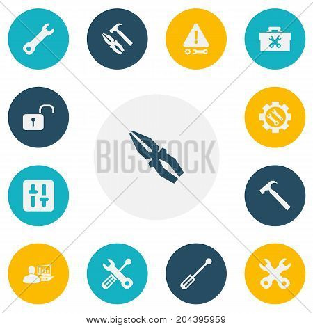 Set Of 13 Editable Service Icons. Includes Symbols Such As Opened Padlock, Screwdriver, Computer Statistics And More