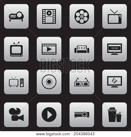 Set Of 16 Editable Cinema Icons. Includes Symbols Such As Couch, Drink, Compact Disk And More
