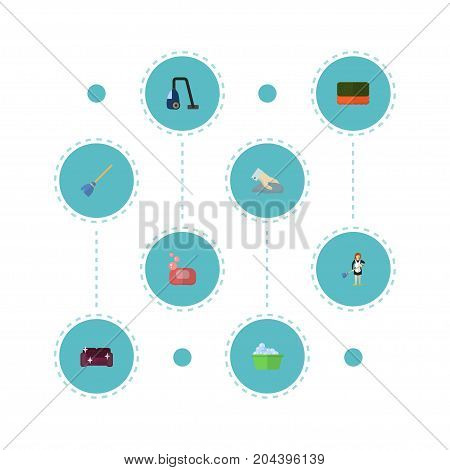 Flat Icons Towel, Sweeper, Housewife And Other Vector Elements