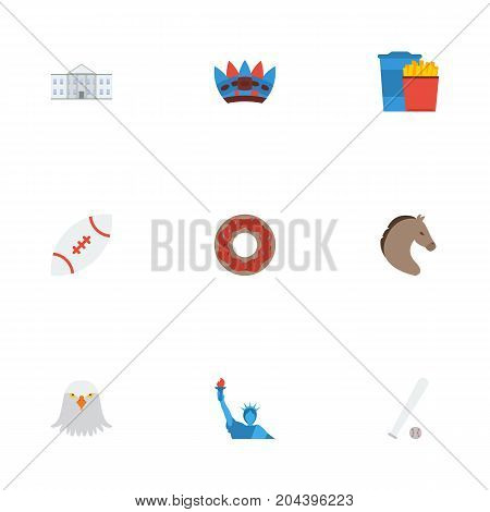 Flat Icons Horse, Indian Mascot, Doughnut And Other Vector Elements