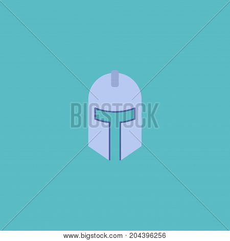 Flat Icon Knight Helmet Element. Vector Illustration Of Flat Icon Warrior Isolated On Clean Background