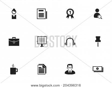 Set Of 12 Editable Office Icons. Includes Symbols Such As Job Woman, Dollar, Display And More