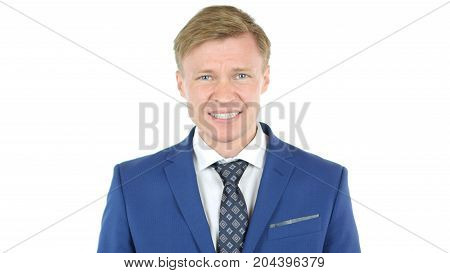 Stressed Businessman After Project Failure Isolated On White Background