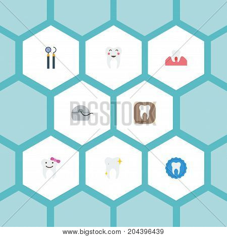 Flat Icons Children Dentist, Halitosis, Equipment And Other Vector Elements