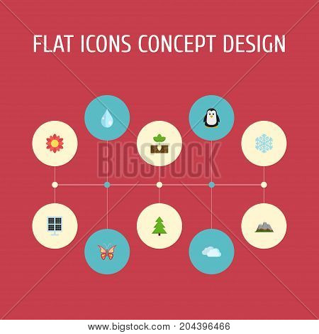 Flat Icons Landscape, Beauty Insect, Tree Vector Elements
