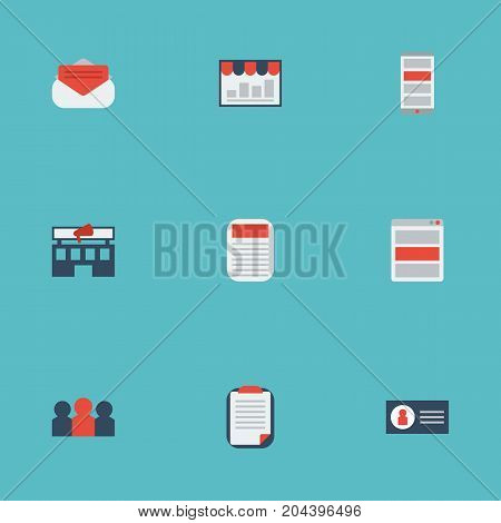 Flat Icons Social Media Ads, Auditorium, Id And Other Vector Elements