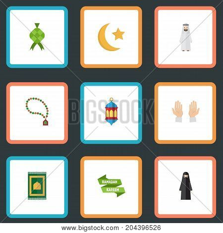Flat Icons Prayer Carpet, Bead, New Lunar And Other Vector Elements