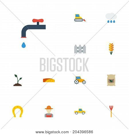 Flat Icons Bulldozer, Sack, Cloud And Other Vector Elements