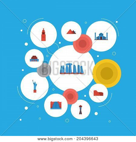 Flat Icons Waterfall, Coliseum, The Forbidden City And Other Vector Elements