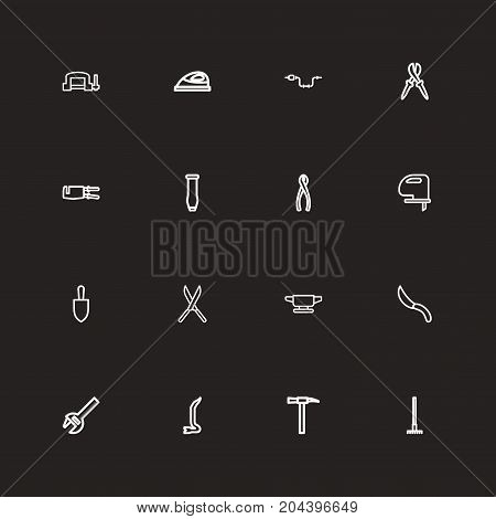 Set Of 16 Editable Instrument Outline Icons. Includes Symbols Such As Saw, Appliance, Clamp And More