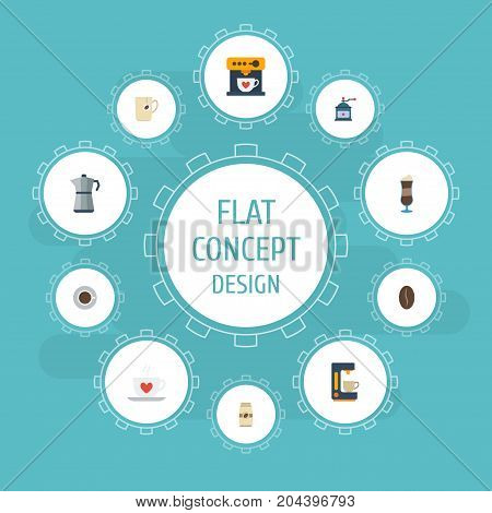 Flat Icons Saucer, Arabica Bean, Mocha And Other Vector Elements