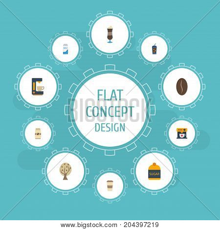 Flat Icons Paper Box, Plastic Cup, Espresso Dispenser And Other Vector Elements