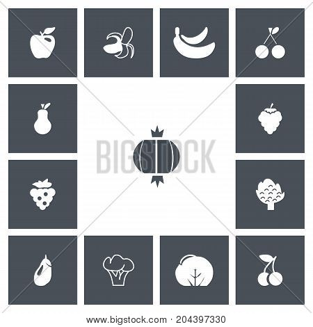Set Of 13 Editable Fruits Icons. Includes Symbols Such As Cauliflower, Morello, Bunch Of Flowers And More