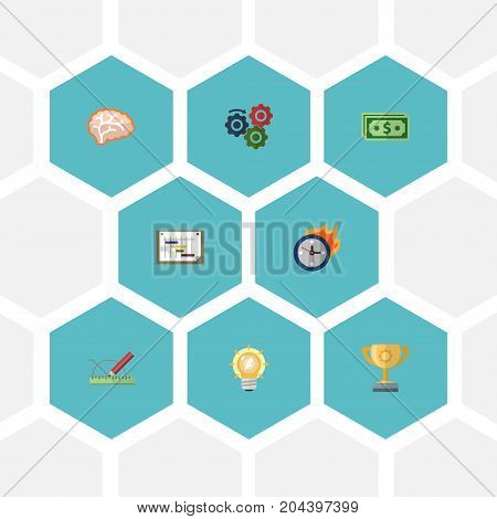 Flat Icons Design, Gear, Cash And Other Vector Elements