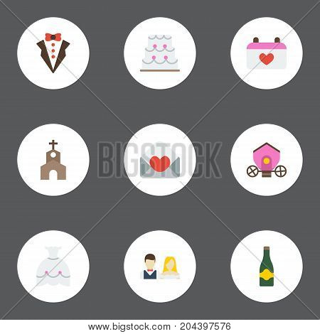 Flat Icons Patisserie, Fizz, Building And Other Vector Elements
