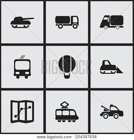 Set Of 9 Editable Transport Icons. Includes Symbols Such As Navigation, Tanker, Truck And More