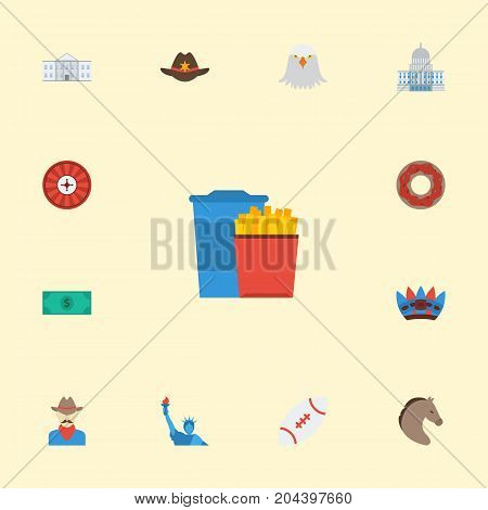 Flat Icons Indian Mascot, Western, Roulette And Other Vector Elements