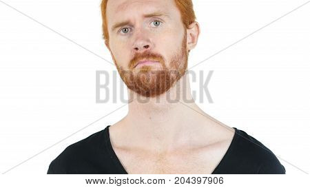 Handsome Young Red Hair  Man Looking Confused On White Background