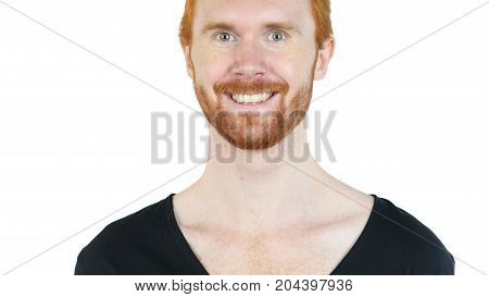 Happy Man Smiling At Camera Isolated On White Background