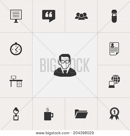 Set Of 13 Editable Office Icons. Includes Symbols Such As Document, Badge, Businesswoman And More