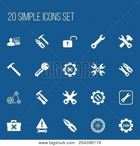 Set Of 20 Editable Repair Icons. Includes Symbols Such As Access, Fix Tool, Options And More