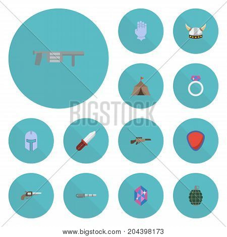 Flat Icons Jewelry, Weapon, Gem And Other Vector Elements