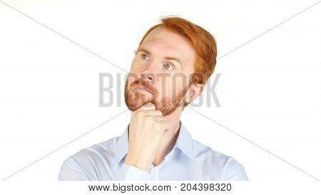 Red Hair Business Man Thinking Isolated On White Background