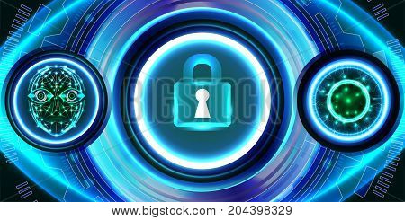 Digital technology business, digital eye, face recognition, security concept. Illustration vector
