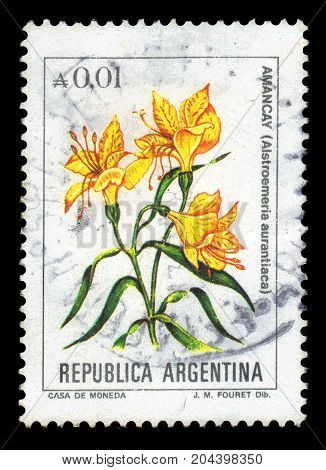 ARGENTINA - CIRCA 1984: a stamp printed in the Argentina shows alstroemeria aurantiaca, known as the peruvian lily or lily of the Incas, flowering plant family alstroemeriaceae, series, circa 1984