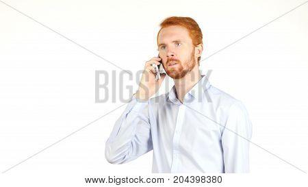 Portrait Of Upset Businessman Talking On Smartphone, Crisis, Bad News