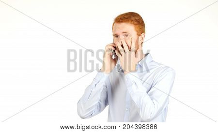 Portrait Of Angry Businessman Talking On Smartphone, Crisis, Bad News